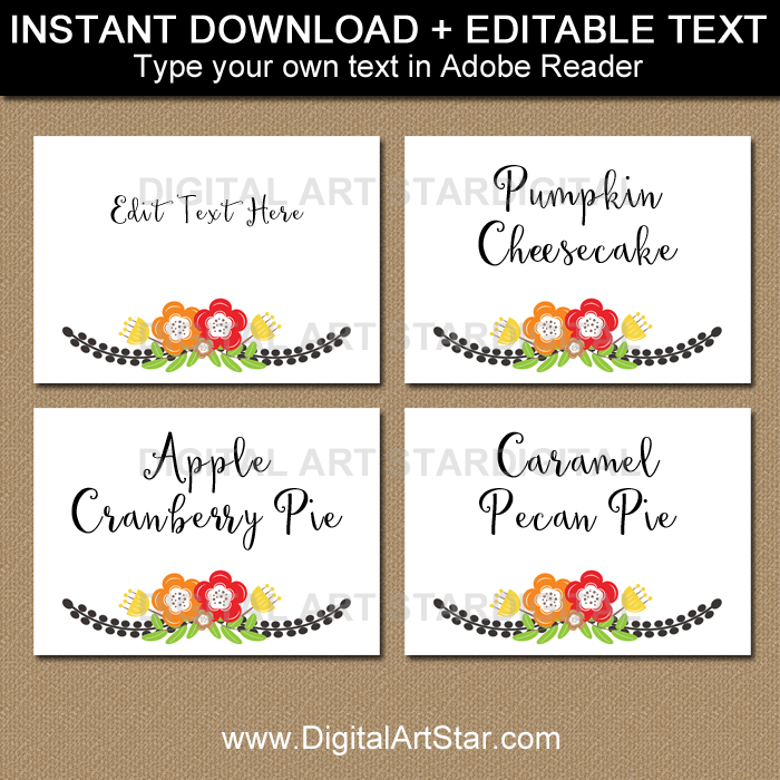Thanksgiving Place Cards Black and White with Autumn Floral