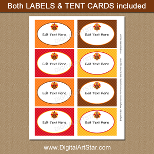downloadable Thanksgiving candy buffet labels