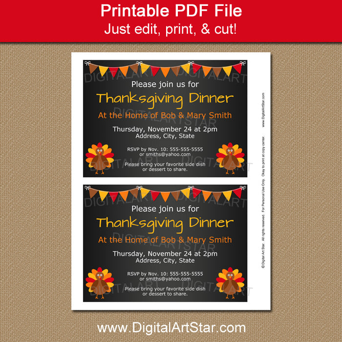 Thanksgiving Chalkboard Printables Editable Invite  Digital Art Star