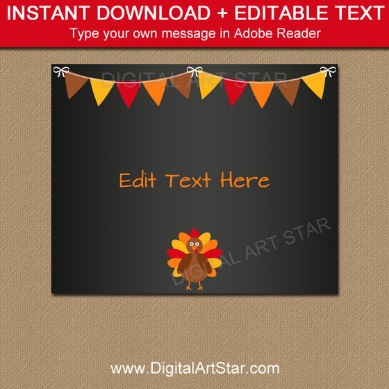 Thanksgiving Signs Printable Sign Template Digital Art Star - Chalkboard sign template