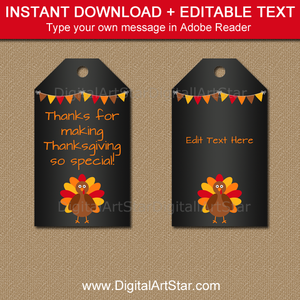 Thanksgiving Turkey Tag Template with Chalkboard Background
