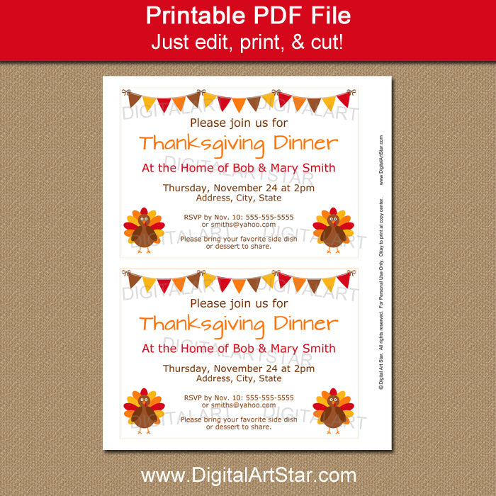 Turkey Invitation for Thanksgiving Dinner