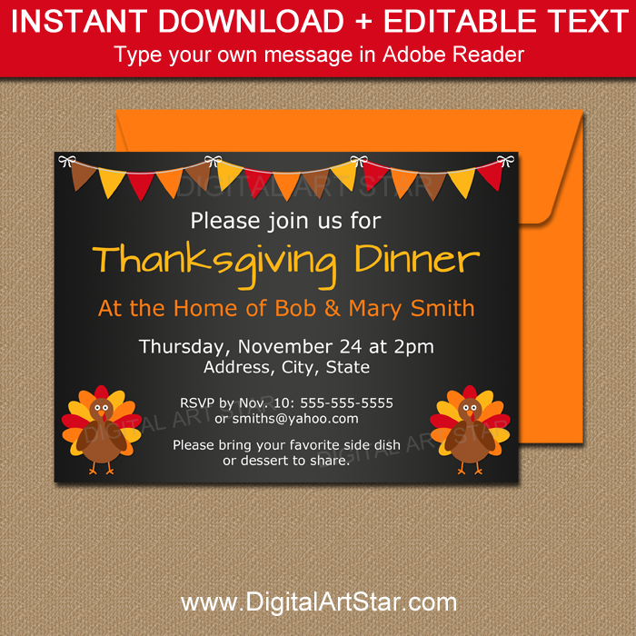 Thanksgiving Chalkboard Printables: Editable Invite
