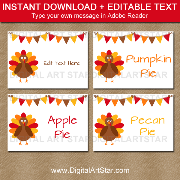 thanksgiving food signs place cards labels digital. Black Bedroom Furniture Sets. Home Design Ideas