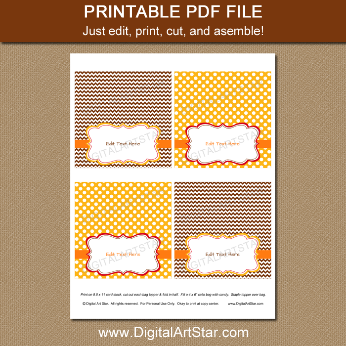 Printable Thanksgiving Party Favor Bag Labels