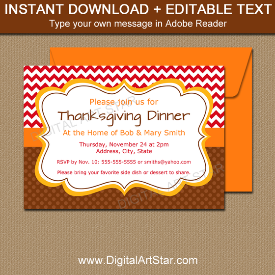 Printable Invitation Templates Editable Party Invites Digital Art - Thanksgiving party invitation templates