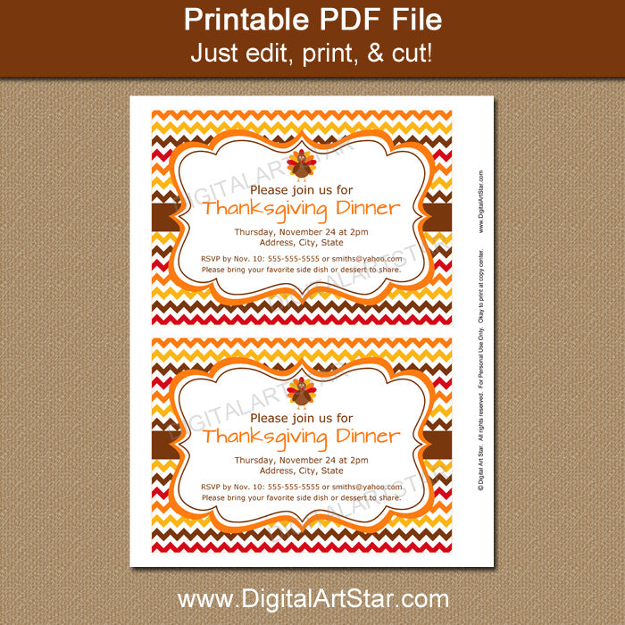 print the Thanksgiving invitation and cut out each invite