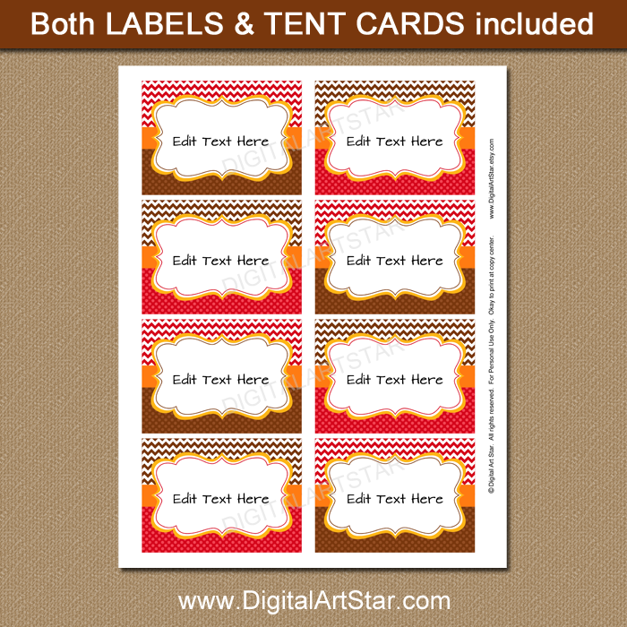 printable fall candy buffet labels