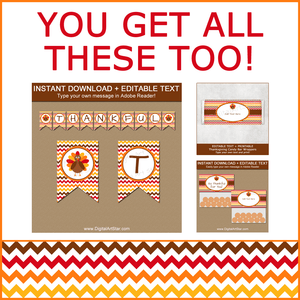 Thanksgiving Banner, Candy Wrappers, Bag Toppers