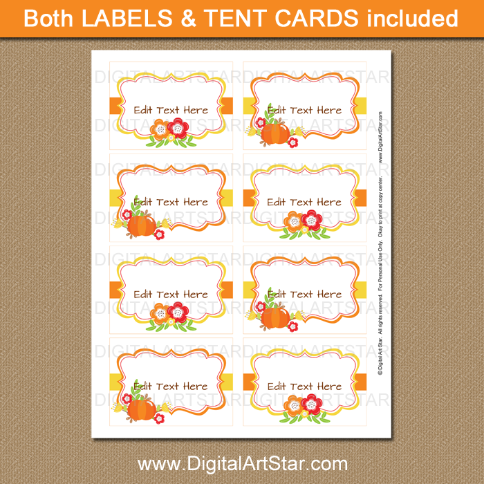 Fall Baby Shower Label Template