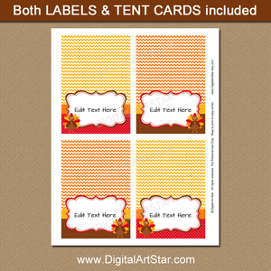 Printable Thanksgiving Place Cards Digital Download