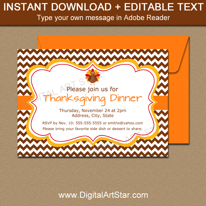 Thanksgiving Printables: Invitation Template