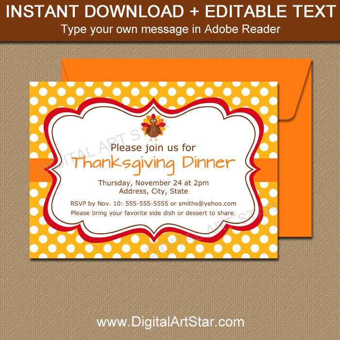 Thanksgiving Supper Invitation