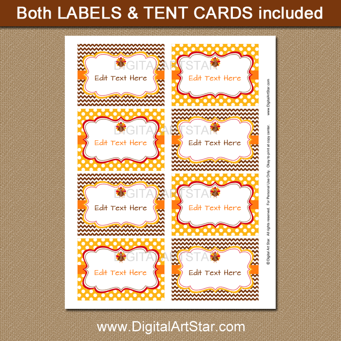 Thanksgiving Tent Cards And Labels