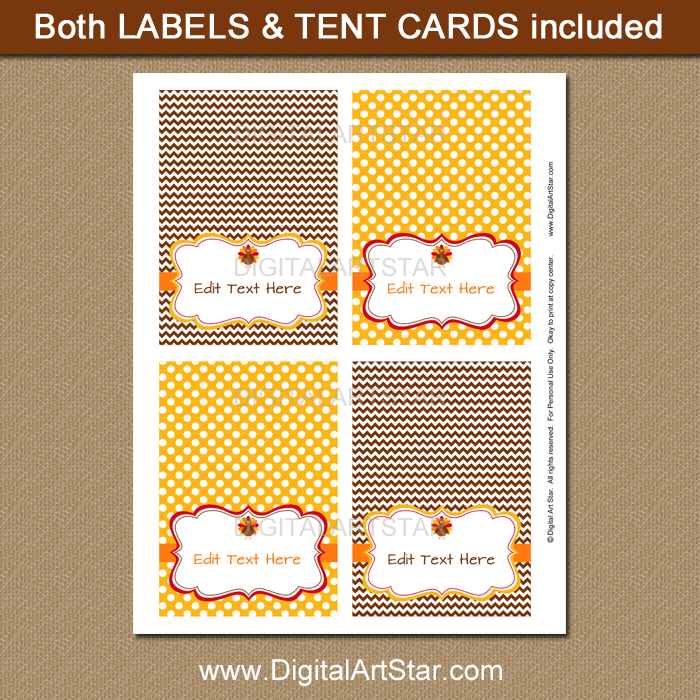 editable Thanksgiving tent cards