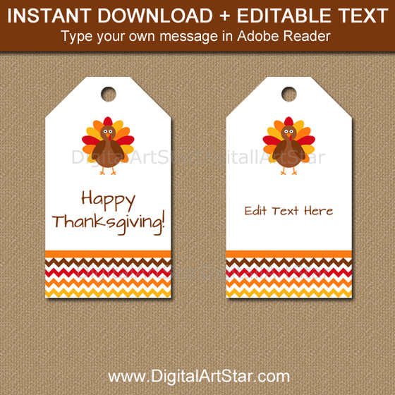 editable Thanksgiving thank you tags
