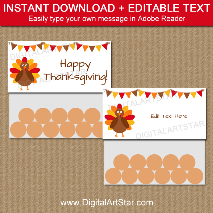 Thanksgiving Treat Bag Topper Template