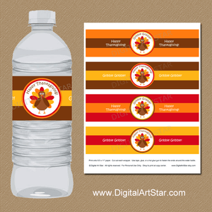 Printable Thanksgiving Water Bottle Labels by Digital Art Star