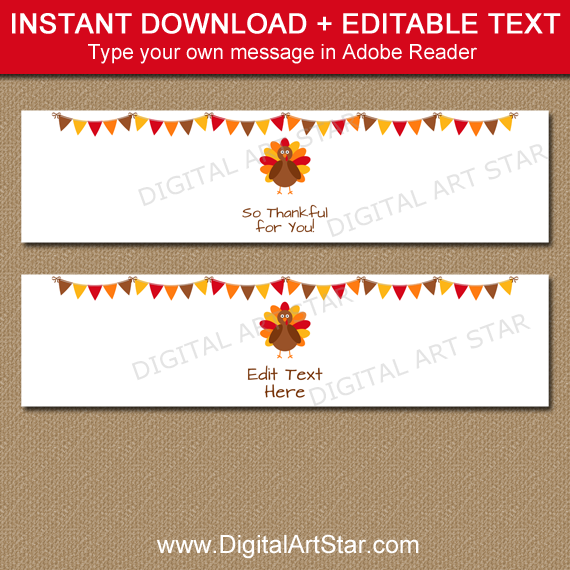 Instant Download Thanksgiving Napkin Rings