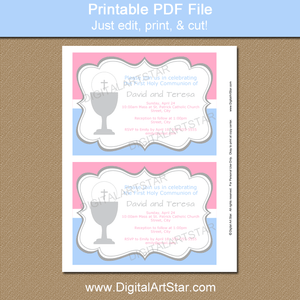 Printable First Holy Communion Invitation Template for Boy and Girl Twins