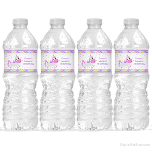 Unicorn 1st Birthday Water Bottle Label Template