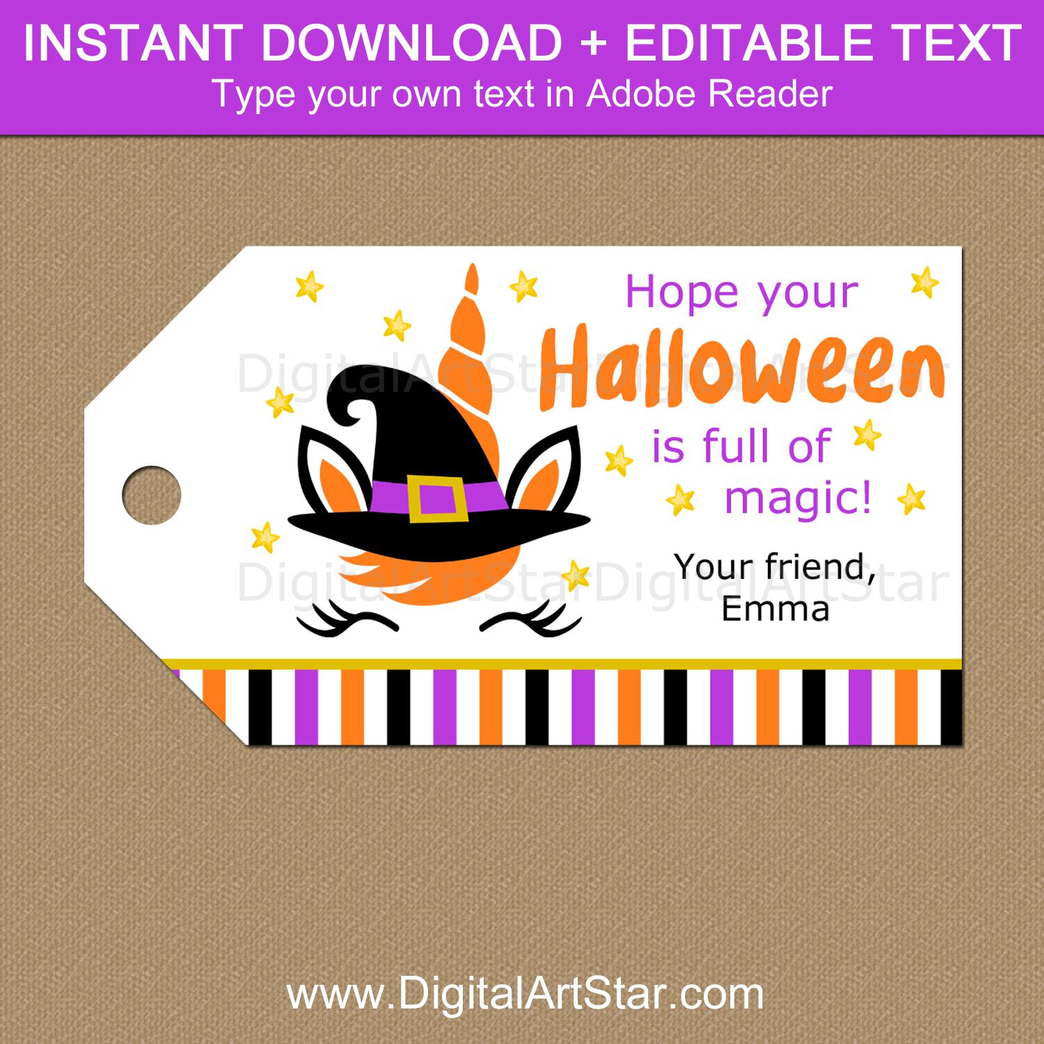 Unicorn Halloween Printable Gift Tags - Editable Template