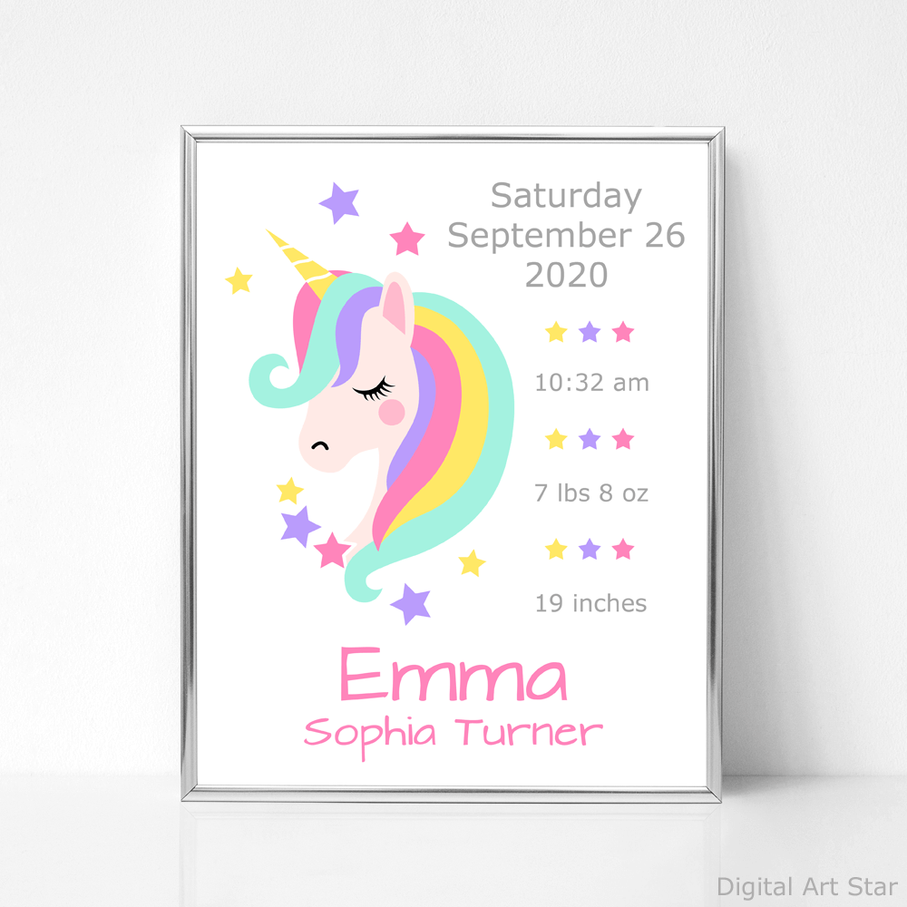 Unicorn Wall Art Print Birth Stats for Girl Nursery Room