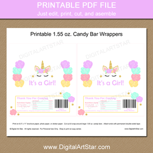 Printable Unicorn Baby Shower Chocolate Bar Wrappers