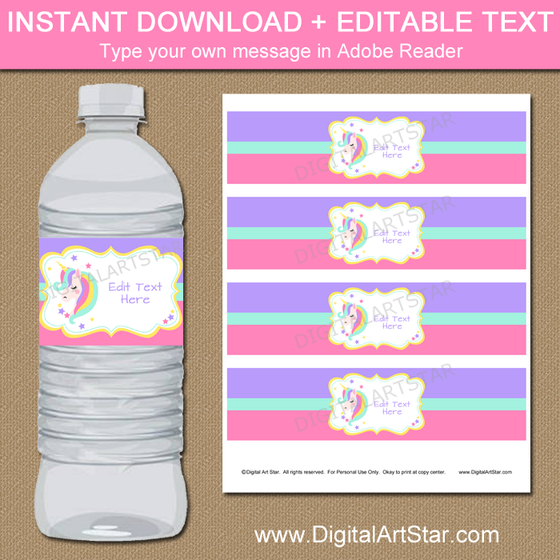 Unicorn Water Bottle Labels Printable