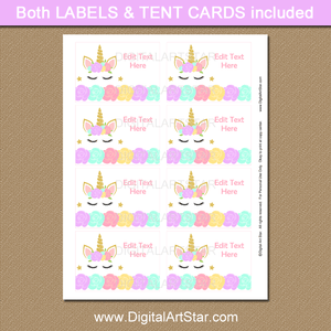 Unicorn Birthday Party Food Labels
