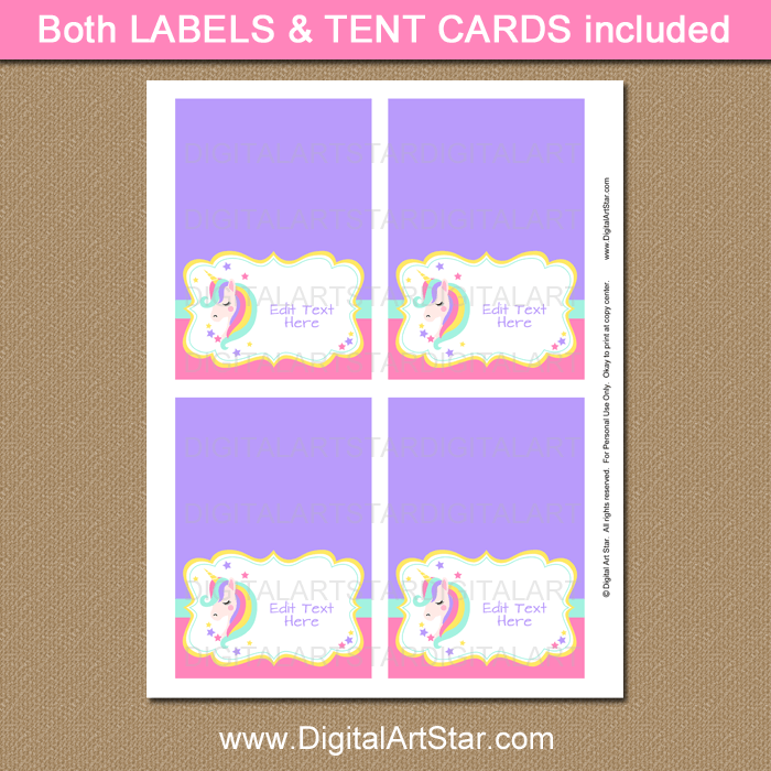 Printable Unicorn Place Cards