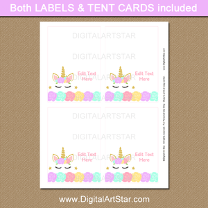Unicorn Baby Shower Place Cards Template