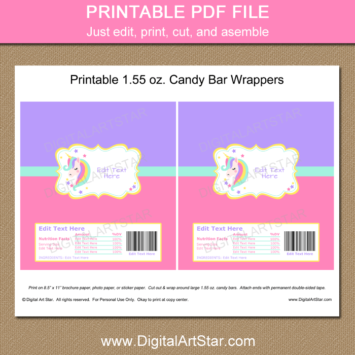 image regarding Printable Candy Wrappers titled Unicorn Celebration Favors - Printable Sweet Wrappers