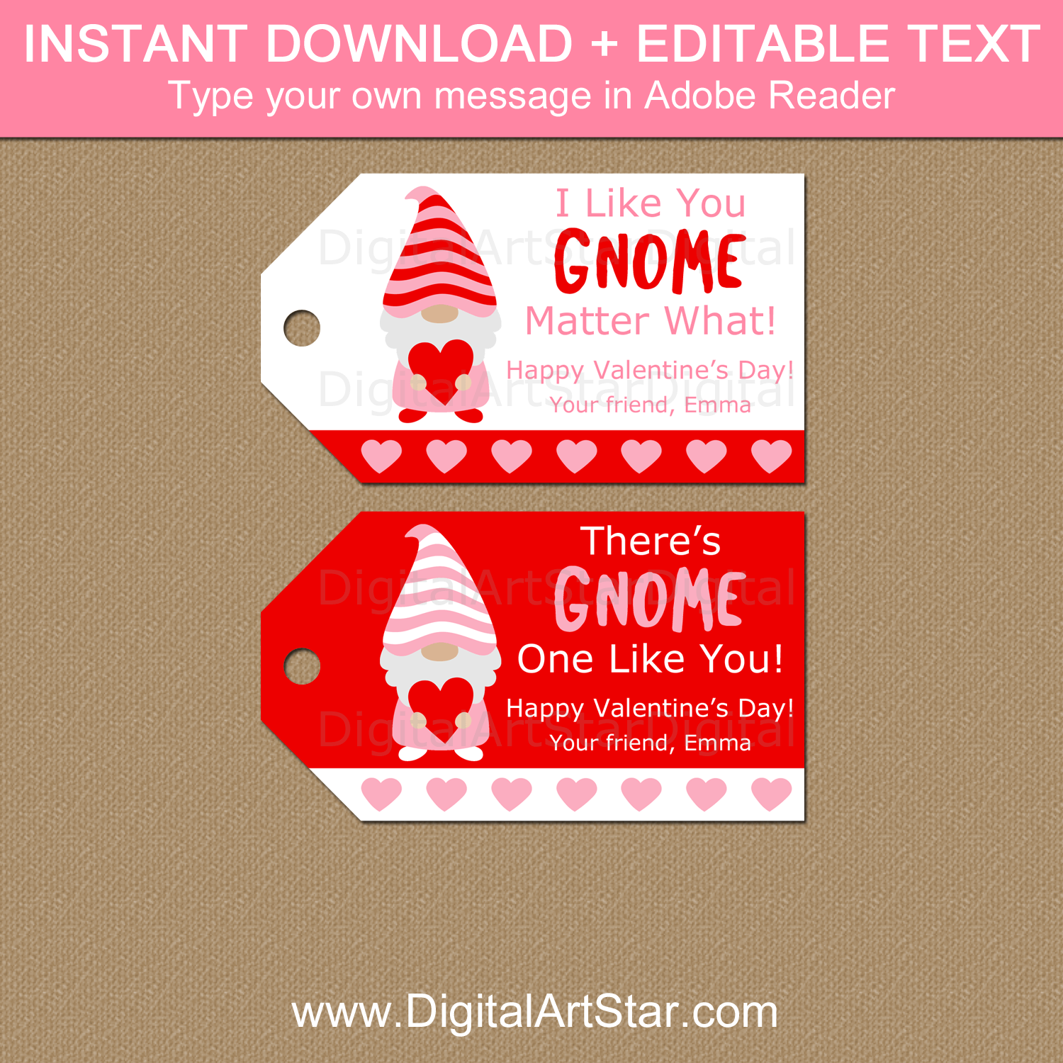 Valentine Gnome Tags Instant Download Template