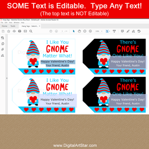 Editable Valentine Gnome Hang Tags to Print