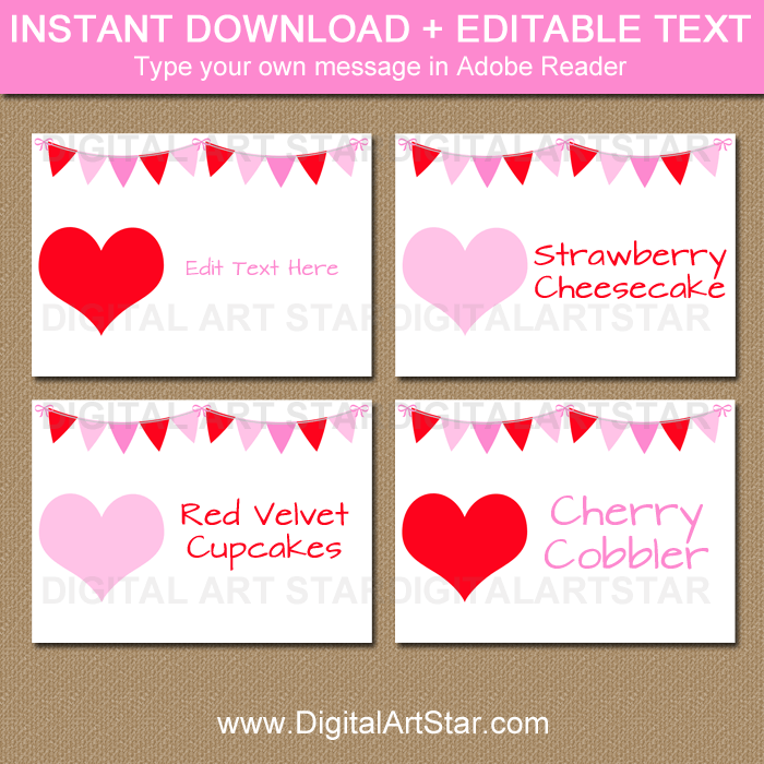 image about Valentine Labels Printable referred to as Valentines Working day Labels, Tent Playing cards, Buffet Playing cards, Position Playing cards