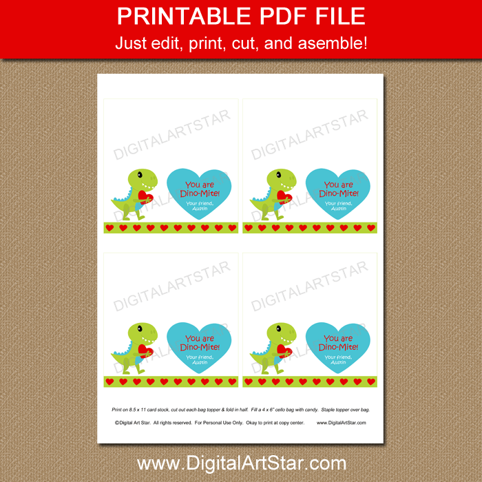 Printable Dino-Mite Valentine Candy Bag Toppers