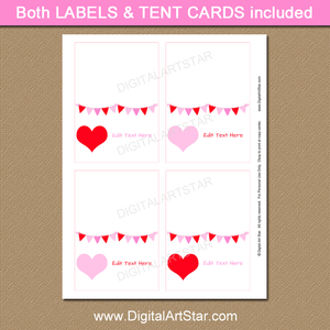 Valentine's Day Tent Cards, Buffet Cards, Place Cards