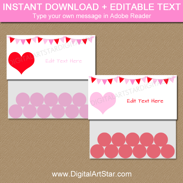 Editable Valentine Bag Topper Template