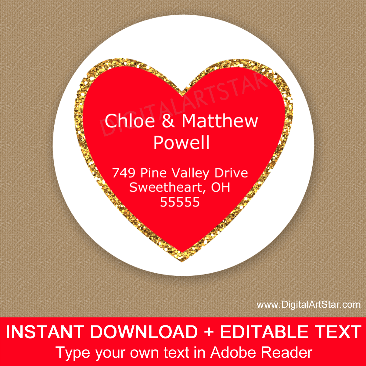 Valentines Day Address Labels Printable - Red Heart Gold Glitter