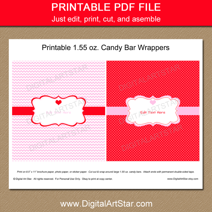 Valentine's Day Candy Bar Wrapper Template