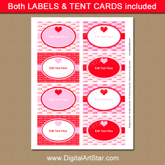 Pink and Red Valentine Food Labels
