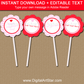 Printable Valentines Day Cupcake Toppers in Pink and Red