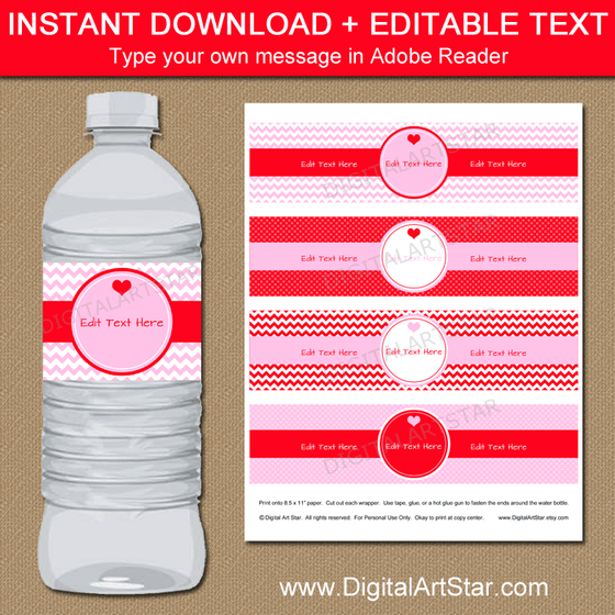 Valentine Water Bottle Labels Editable Template Pink and Red