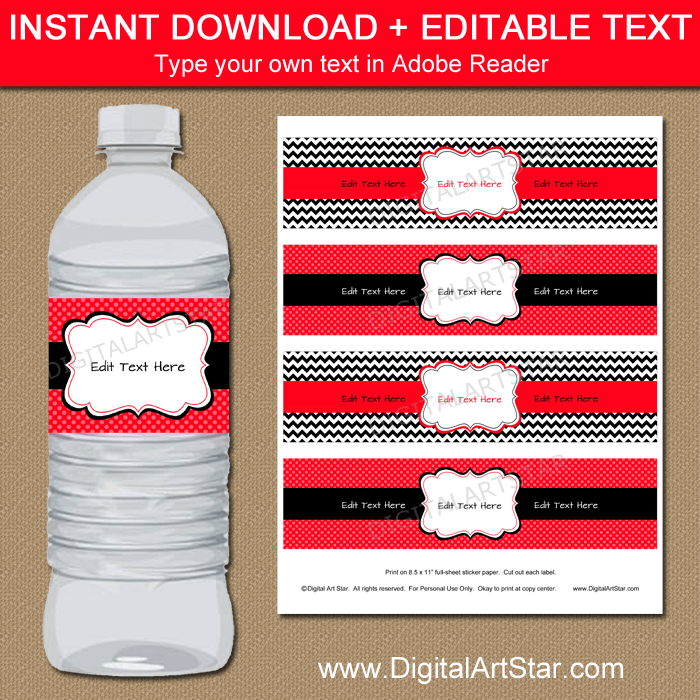 Water Bottle Labels Party Favors Red Black White