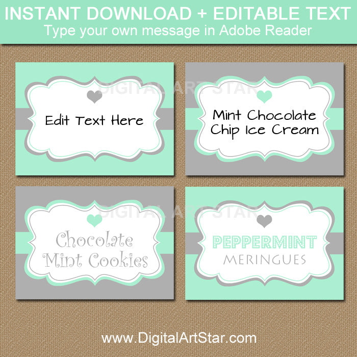 Superb Mint And Gray Candy Buffet Labels With Hearts For Bridal Shower Wedding Download Free Architecture Designs Scobabritishbridgeorg