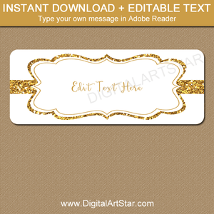 White and Gold Glitter Address Labels Download