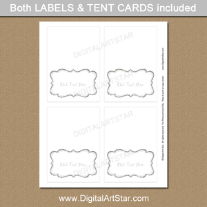 Printable Silver Baby Shower Place Cards