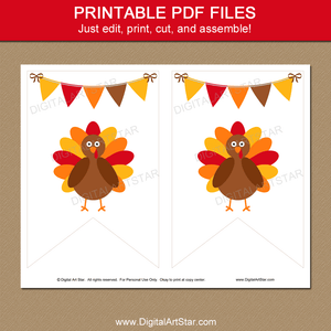 Turkey Banner Printable for Thanksgiving Decorations
