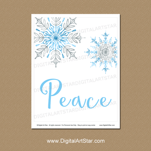 Peace Wall Art Download with Blue and Silver Snowflakes